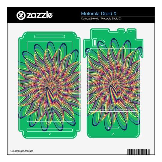 Rainbow Spiral Flower Design - Green Background Motorola Droid X Skin