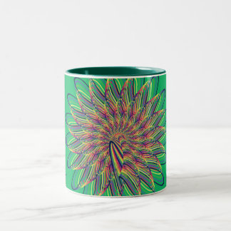 Rainbow Spiral Flower Design - Green Background Two-Tone Coffee Mug