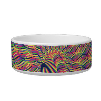 Rainbow Spiral Flower Design - Indigo Background Bowl