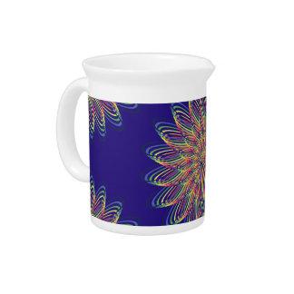 Rainbow Spiral Flower Design - Indigo Background Pitcher