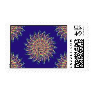 Rainbow Spiral Flower Design - Indigo Background Postage Stamp