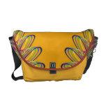 Rainbow Spiral Flower Design - Orange Background Courier Bags