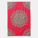 Rainbow Spiral Flower Design - Red Background Hand Towels
