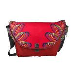 Rainbow Spiral Flower Design - Red Background Commuter Bag