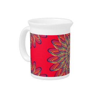 Rainbow Spiral Flower Design - Red Background Pitchers