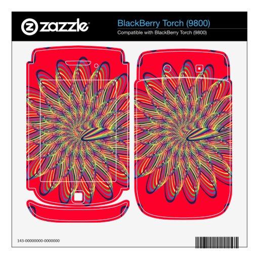 Rainbow Spiral Flower Design - Red Background BlackBerry Torch Decals