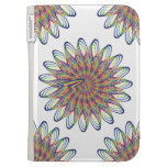 Rainbow Spiral Flower Design - White Background Kindle Cover