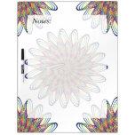 Rainbow Spiral Flower Design - White Background Dry Erase Whiteboards