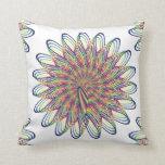 Rainbow Spiral Flower Design - White Background Throw Pillow