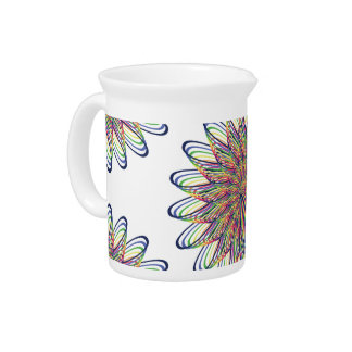 Rainbow Spiral Flower Design - White Background Drink Pitchers
