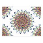 Rainbow Spiral Flower Design - White Background Postcard