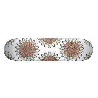 Rainbow Spiral Flower Design - White Background Skateboard Deck