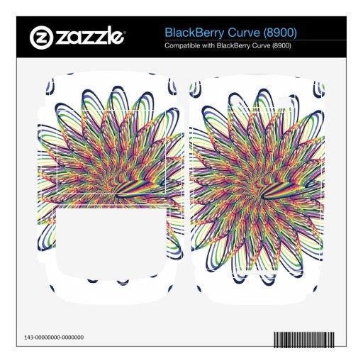 Rainbow Spiral Flower Design - White Background Skins For BlackBerry