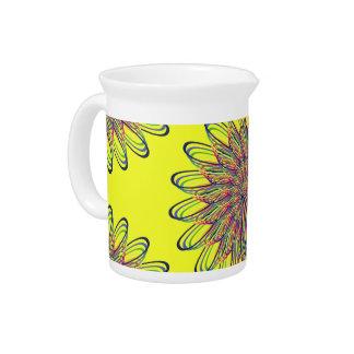Rainbow Spiral Flower Design - Yellow Background Pitcher