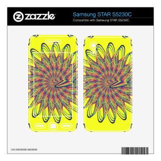 Rainbow Spiral Flower Design - Yellow Background Samsung STAR S5230C Skins