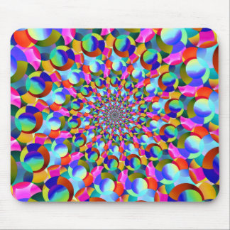 Rainbow Spiral Fractal Art Mouse Pad