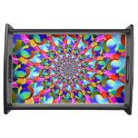 Rainbow Spiral Fractal Art Serving Platters