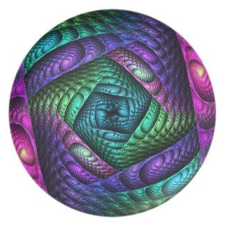 Rainbow Spiral Fractal Texture Dinner Plate