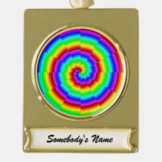 Rainbow Spiral Gold Plated Banner Ornament