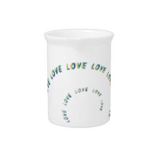 Rainbow Spiral Love Love Love Beverage Pitchers