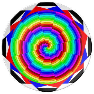 Rainbow Spiral Porcelain Plate