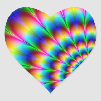 Rainbow Spiral Optical Illusion Heart Sticker