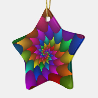 Rainbow Spiral Orbs Star Ornament