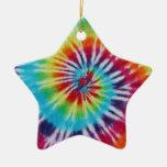 Rainbow Spiral Double-Sided Star Ceramic Christmas Ornament