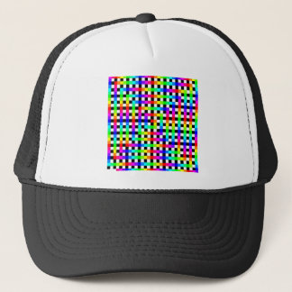 Rainbow Spiral Pattern Over Black Lines Trucker Hat