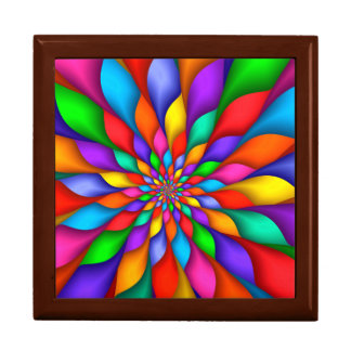 Rainbow Spiral Petals Flower  Gift Box