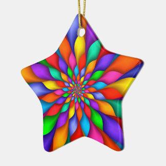 Rainbow Spiral Petals Flower  Ornament