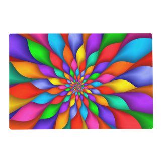 Rainbow Spiral Petals Flower Placemat Laminated Placemat