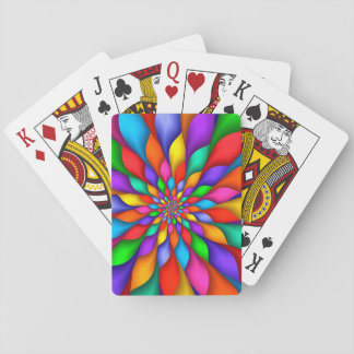 Rainbow Spiral Petals Flower Playing Cards