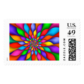 Rainbow Spiral Petals Flower Postage Stamps