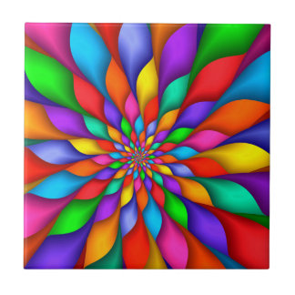 Rainbow Spiral Petals Flower Tile