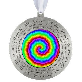 Rainbow Spiral Pewter Ornament