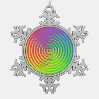 Rainbow Spiral Pewter Snowflake Ornament at Zazzle