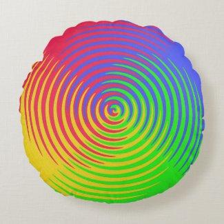 Rainbow Spiral Round Pillow