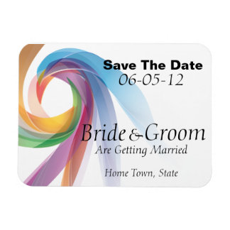 Rainbow Spiral Save The Date Flex Magnet