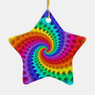 Rainbow Spiral Star Ornament