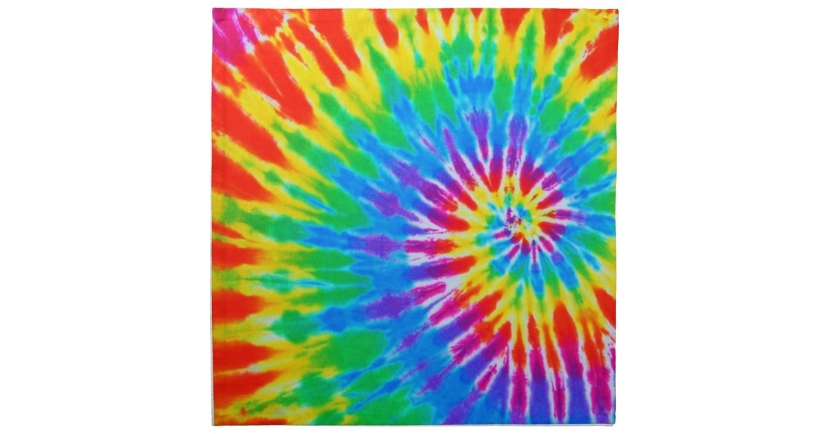 Rainbow Spiral Tie Dye Cloth Napkin Zazzle Com