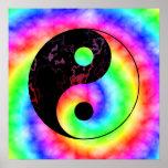 Rainbow Spiral Yin Yang Poster