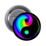 Rainbow Spiral Yin Yang Symbol Button
