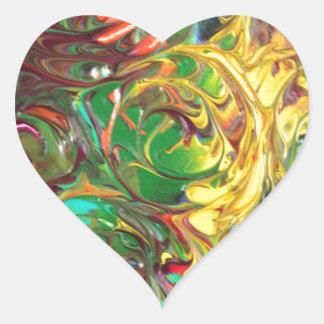 Rainbow Spirals Abstract Painting Heart Sticker