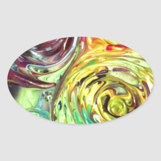 Rainbow Spirals Abstract Painting Oval Sticker