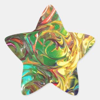 Rainbow Spirals Abstract Painting Star Sticker