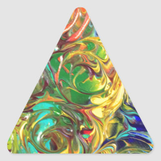 Rainbow Spirals Abstract Painting Triangle Sticker