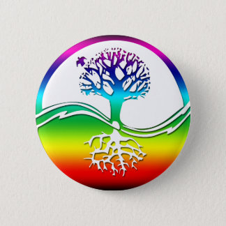 Rainbow Spirit Tree (Balance) Pinback Button