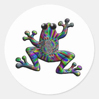 Rainbow Splash Frogs Classic Round Sticker