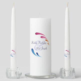 Rainbow Splash Wedding Unity Candle Set